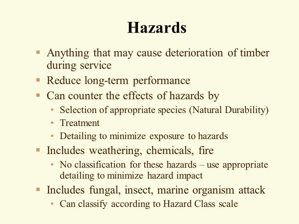 Hazards Anything that may cause deterioration of timber during service