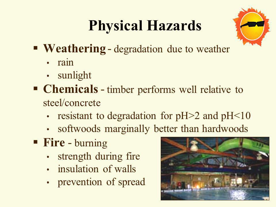 Physical Hazards Weathering - degradation due to weather