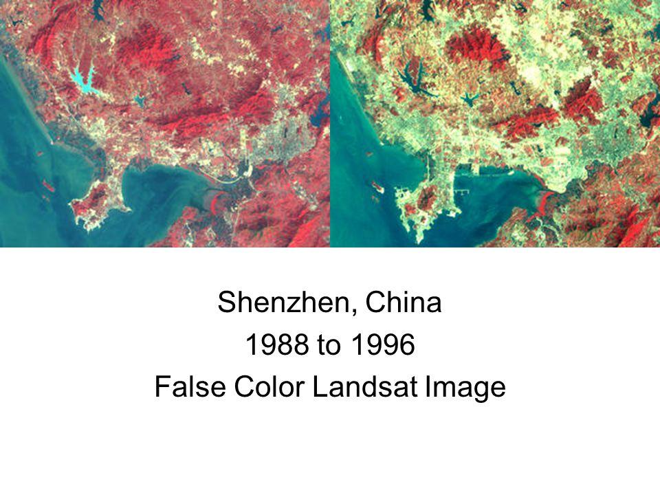 Shenzhen, China 1988 to 1996 False Color Landsat Image
