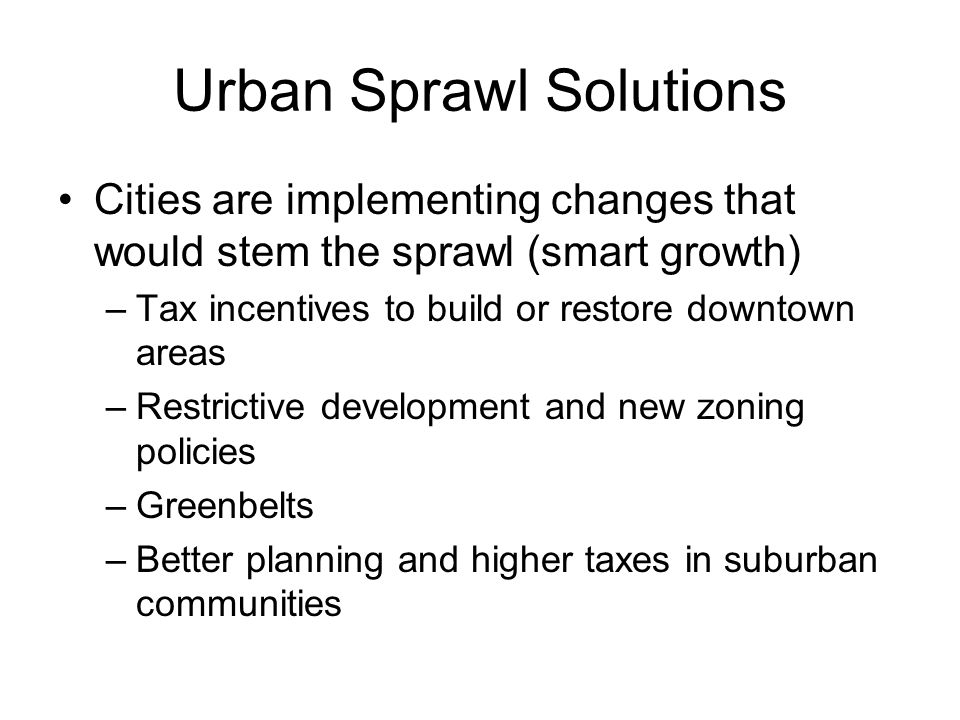 Urban Sprawl Solutions