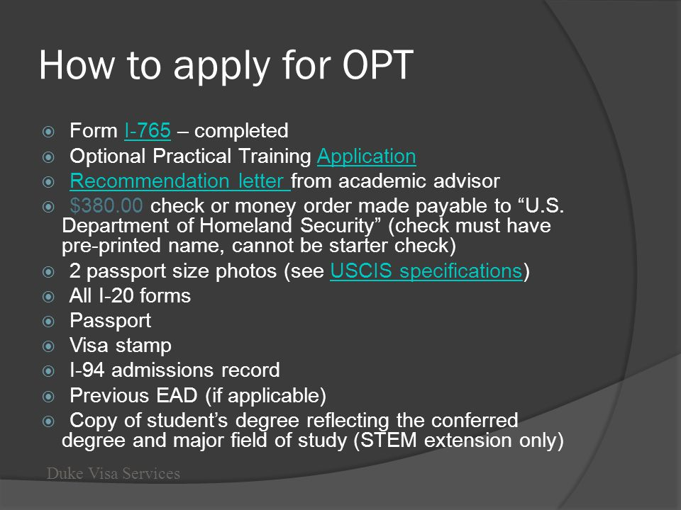 How to apply for OPT Form I-765 – completed
