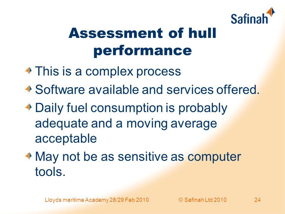 Assessment of hull performance