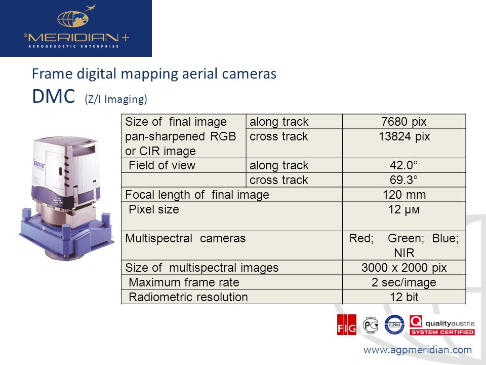 DMC (Z/I Imaging) Frame digital mapping aerial cameras