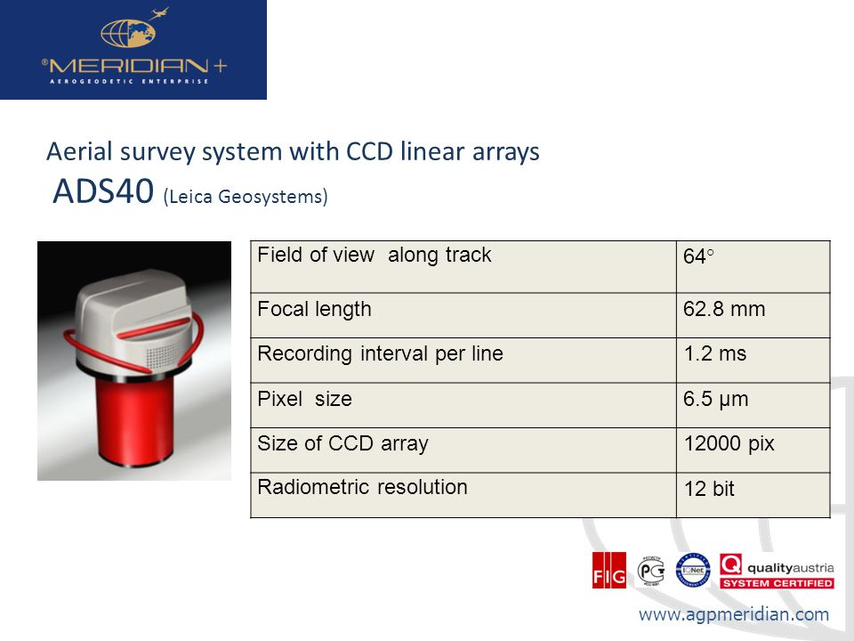 Aerial survey system with CCD linear arrays ADS40 (Leica Geosystems)