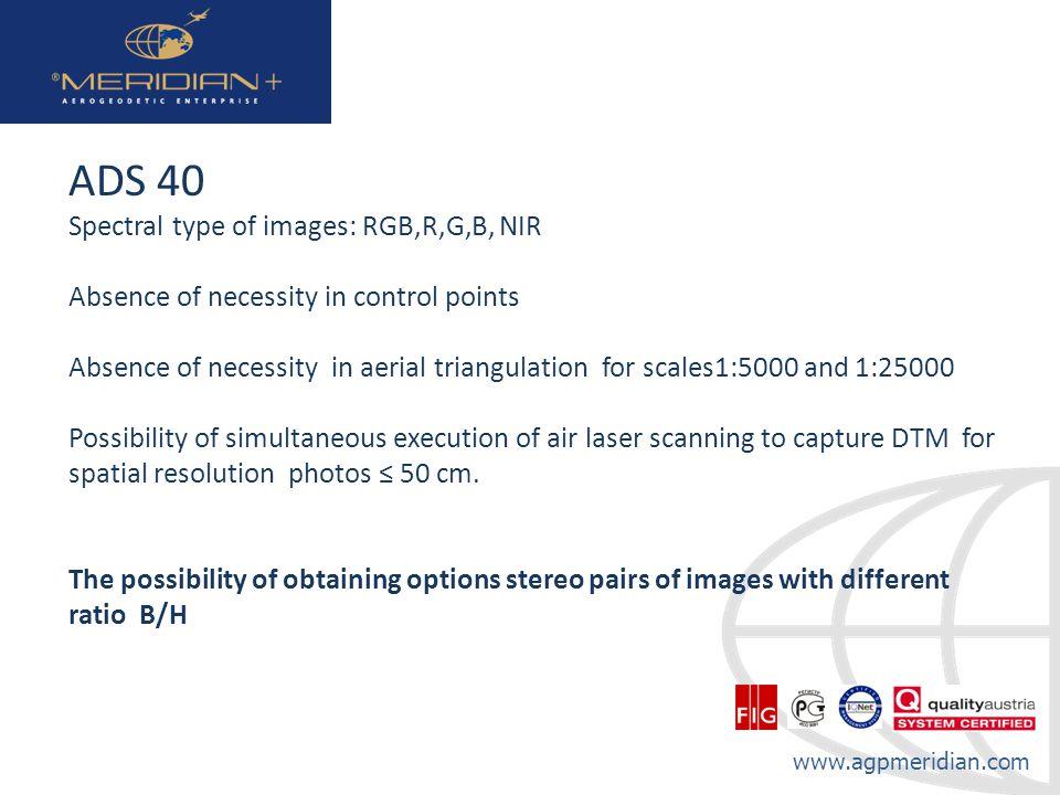 ADS 40 Spectral type of images: RGB,R,G,B, NIR