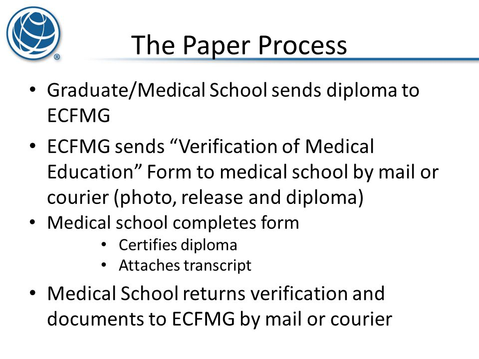 The Paper Process Graduate/Medical School sends diploma to ECFMG