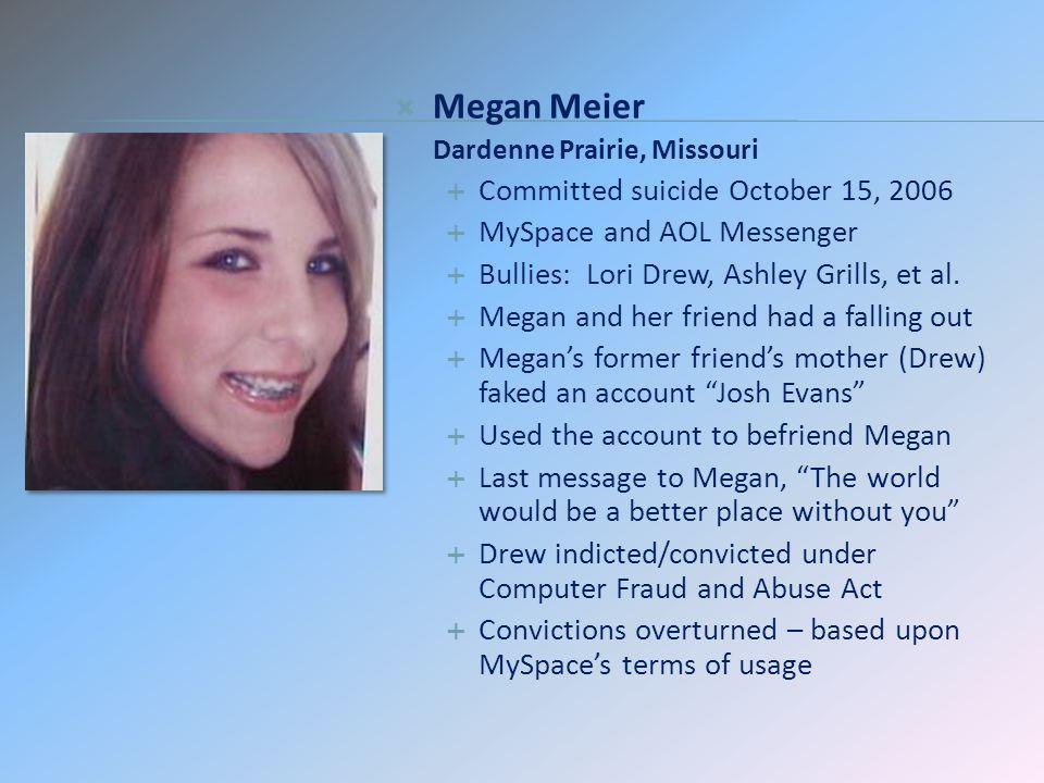 suicide of megan meier and helicopter The parents of a 13-year-old girl who believe their daughter's october 2006 suicide was the result of a cruel cyber hoax are pushing for measures to protect other children online  megan meier .