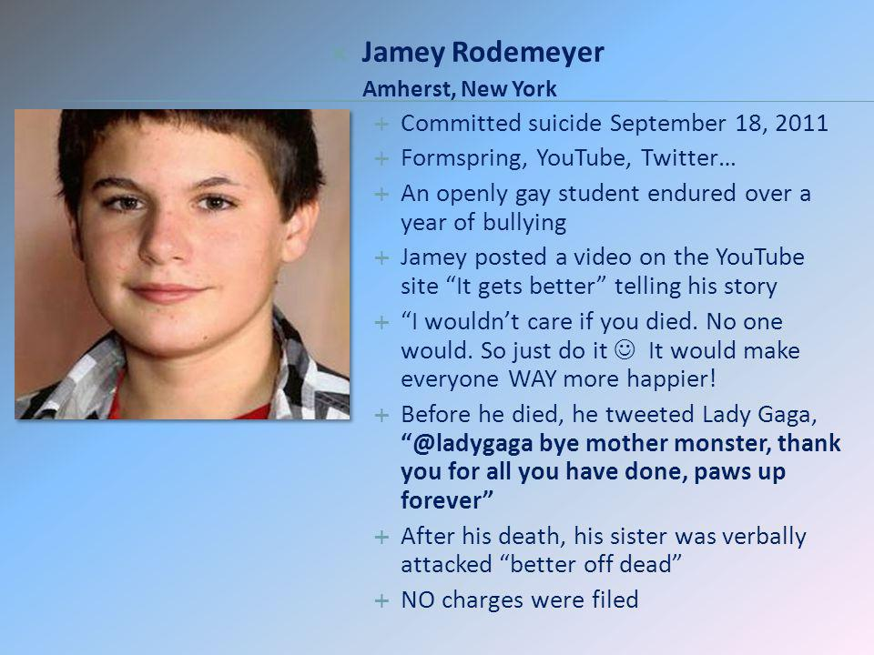 Jamey Rodemeyer Committed suicide September 18, 2011