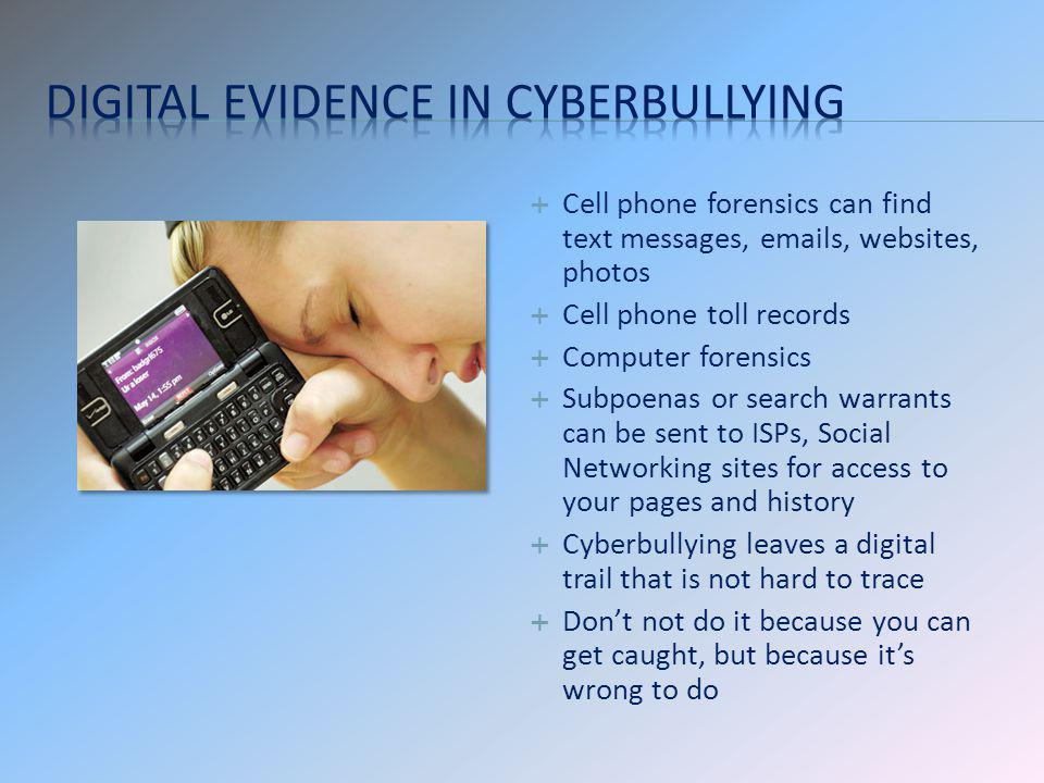 Digital Evidence in Cyberbullying