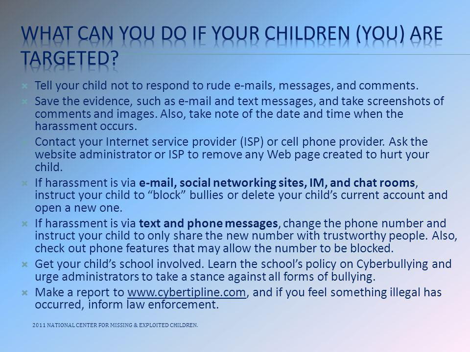 What can you do if your children (you) are targeted