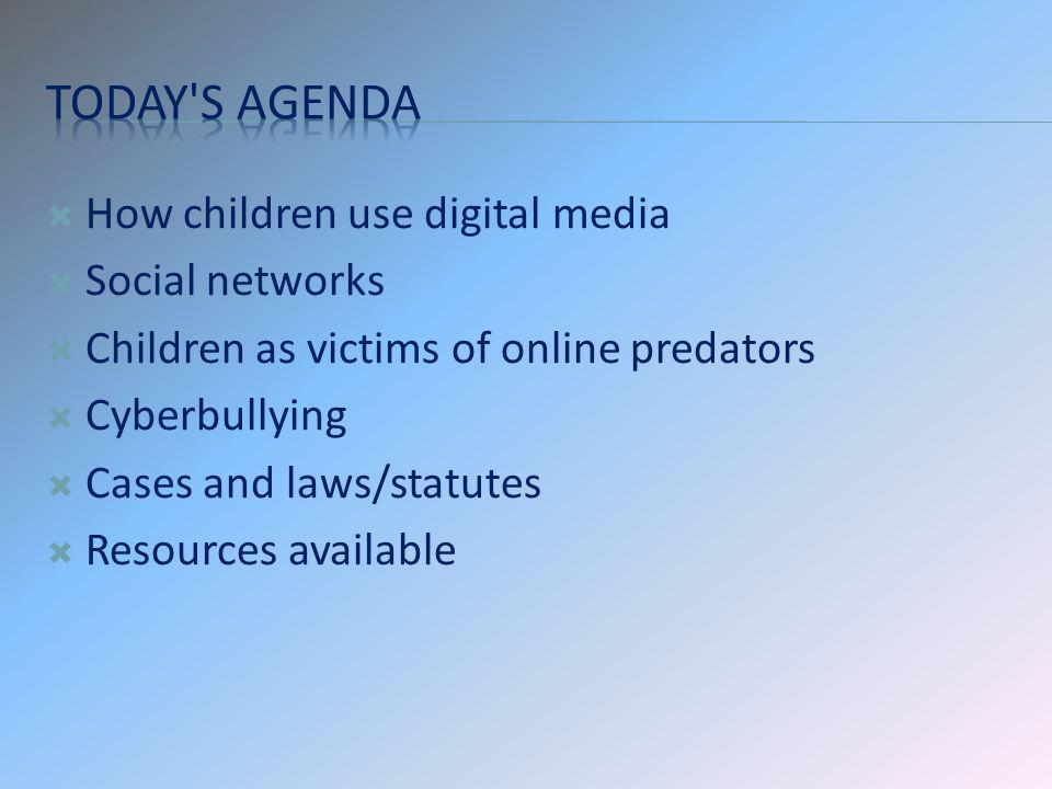 Today s agenda How children use digital media Social networks