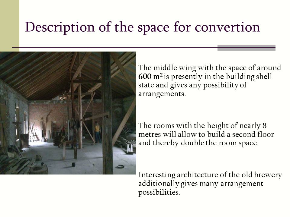Description of the space for convertion