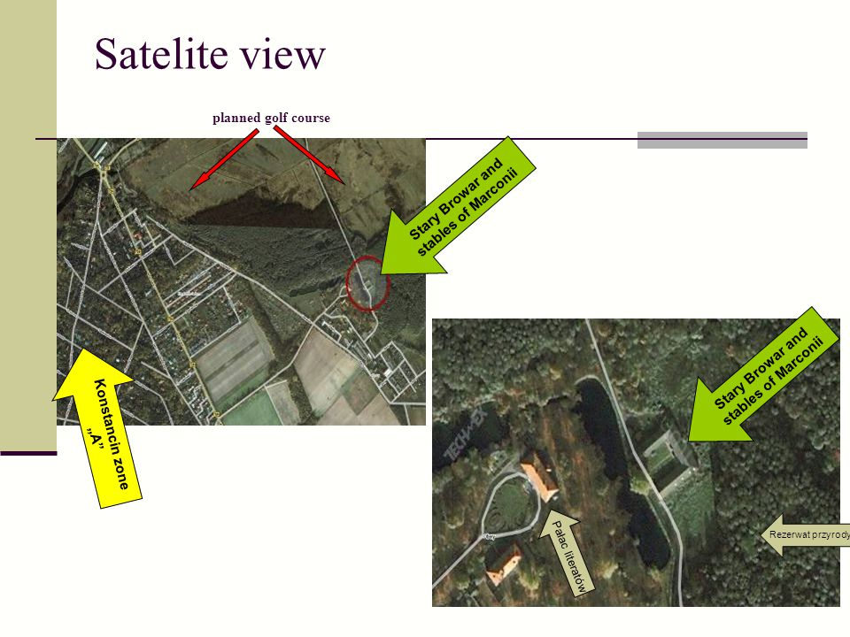 Satelite view planned golf course