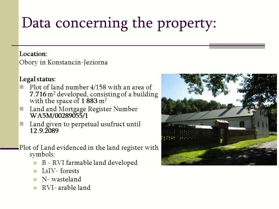 Data concerning the property: