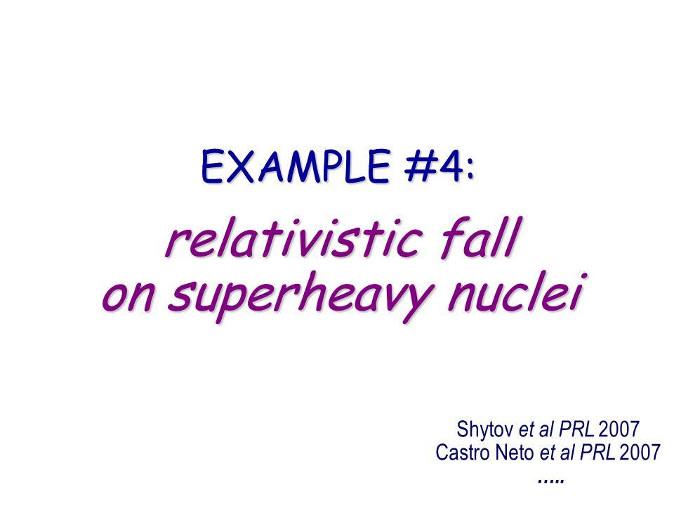 relativistic fall on superheavy nuclei EXAMPLE #4: