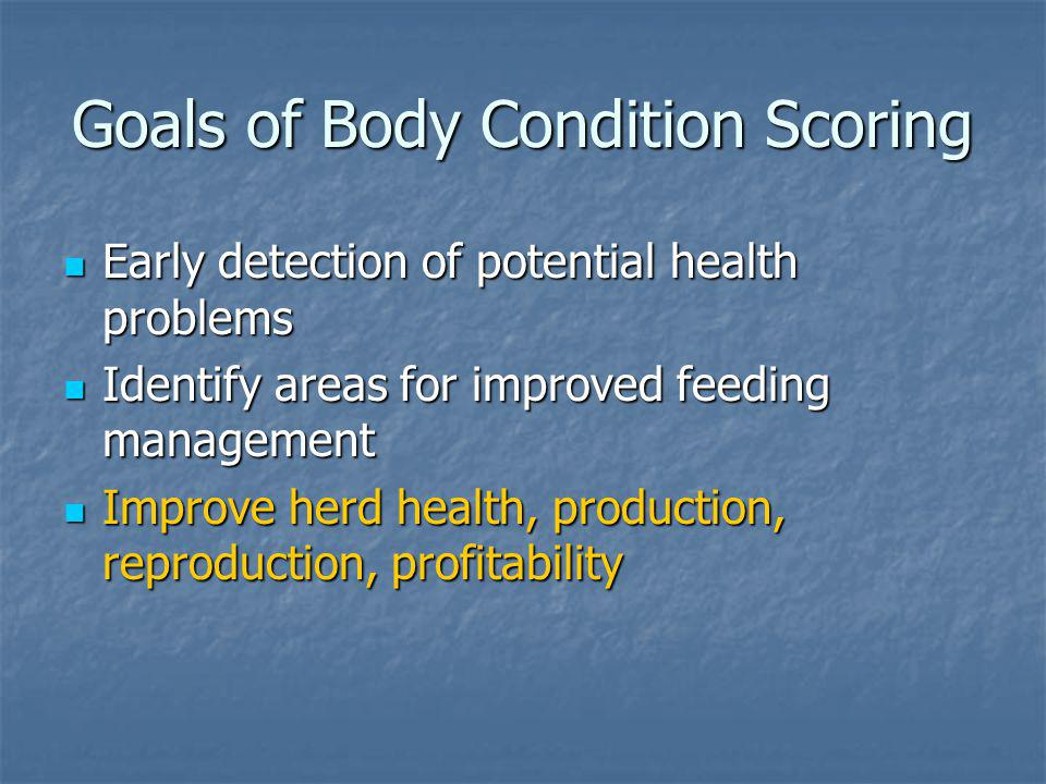 Goals of Body Condition Scoring
