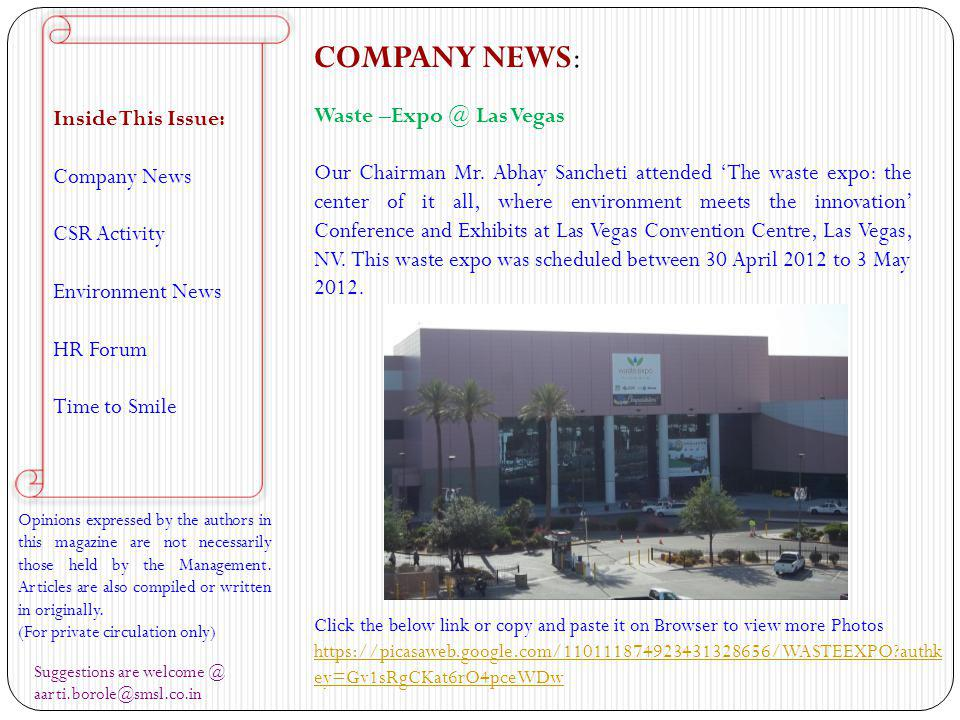 COMPANY NEWS: Inside This Issue: Company News Waste –Expo @ Las Vegas