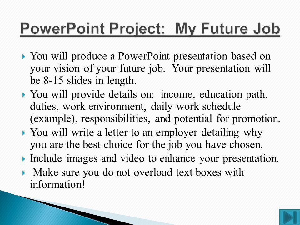 PowerPoint Project: My Future Job