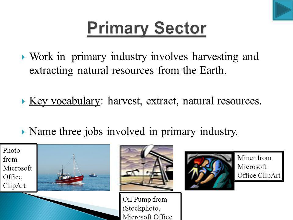 Primary Sector Work in primary industry involves harvesting and extracting natural resources from the Earth.