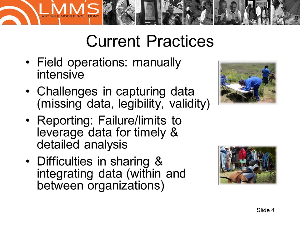 Current Practices Field operations: manually intensive