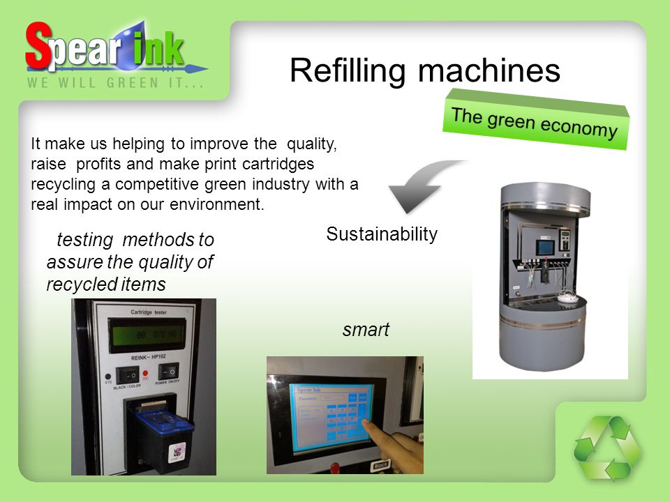 Refilling machines The green economy Sustainability