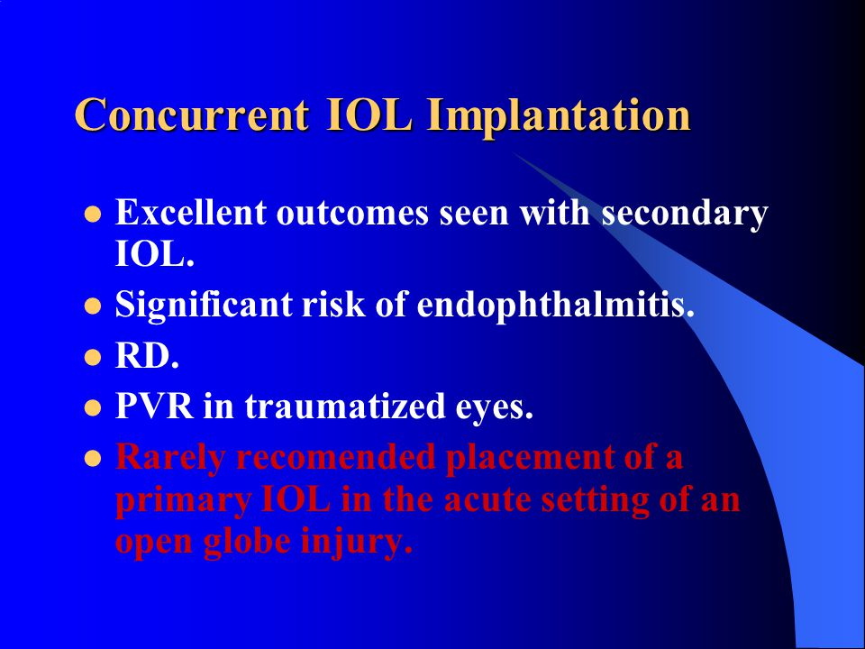 Concurrent IOL Implantation