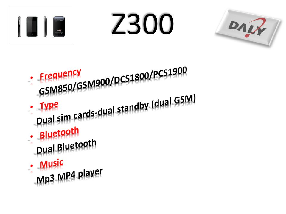 Z300 Frequency GSM850/GSM900/DCS1800/PCS1900 Type