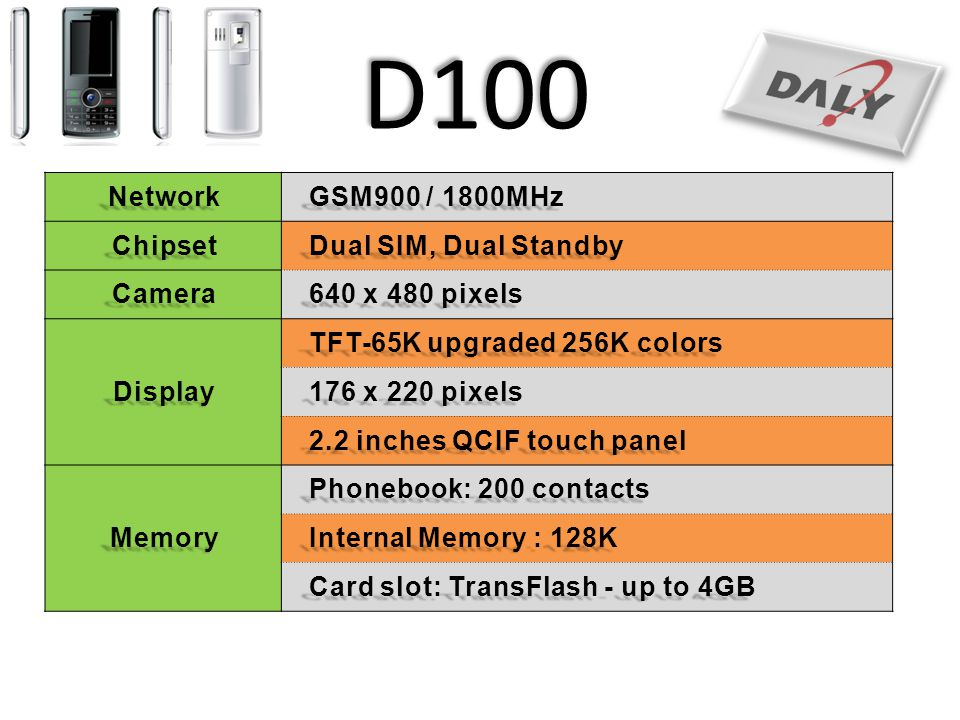 D100 Network GSM900 / 1800MHz Chipset Dual SIM, Dual Standby Camera