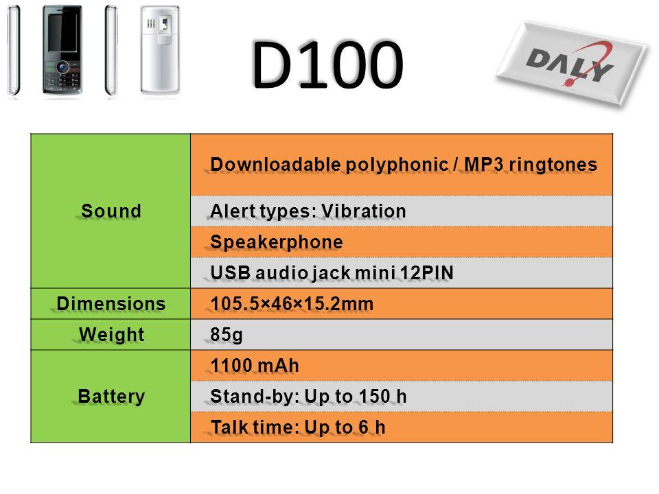 D100 Sound Downloadable polyphonic / MP3 ringtones