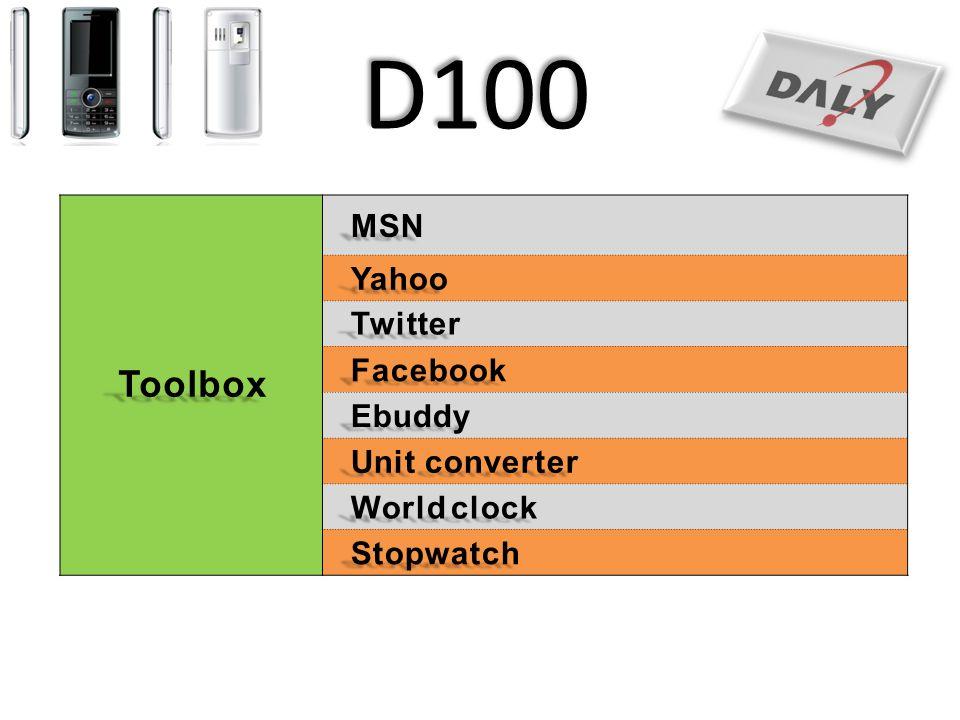 D100 Toolbox MSN Yahoo Twitter Facebook Ebuddy Unit converter