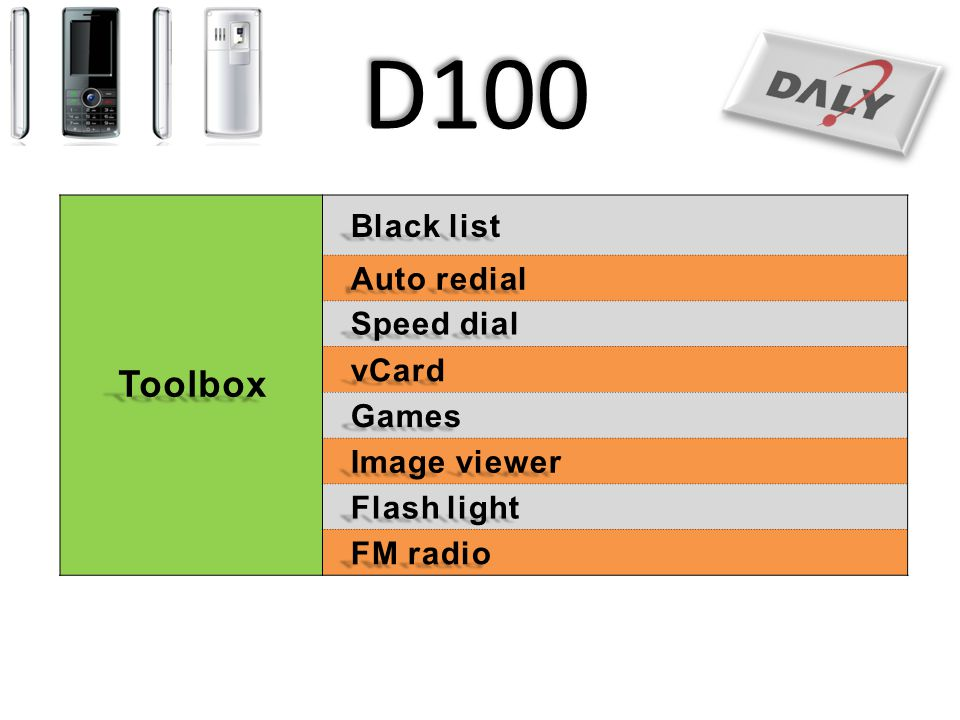 D100 Toolbox Black list Auto redial Speed dial vCard Games
