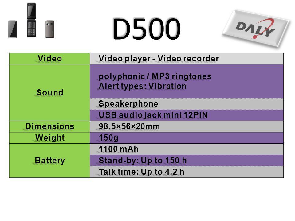 D500 Video Video player - Video recorder Sound