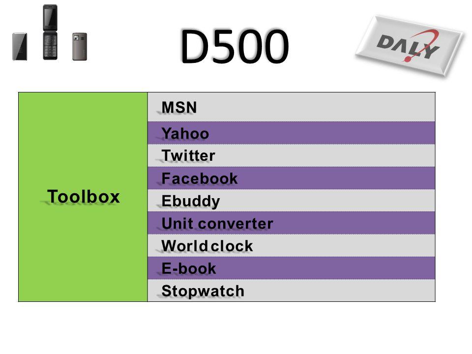 D500 Toolbox MSN Yahoo Twitter Facebook Ebuddy Unit converter