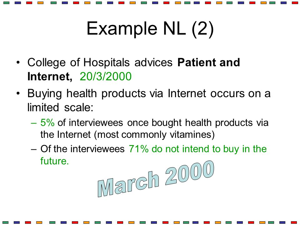Example NL (2) College of Hospitals advices Patient and Internet, 20/3/2000. Buying health products via Internet occurs on a limited scale:
