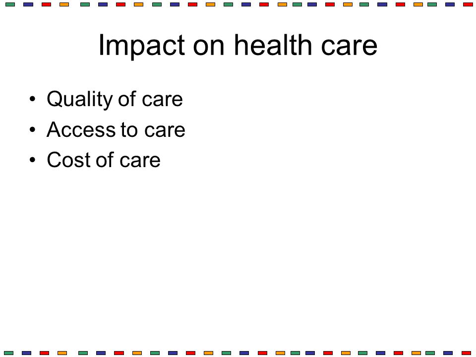 Impact on health care Quality of care Access to care Cost of care
