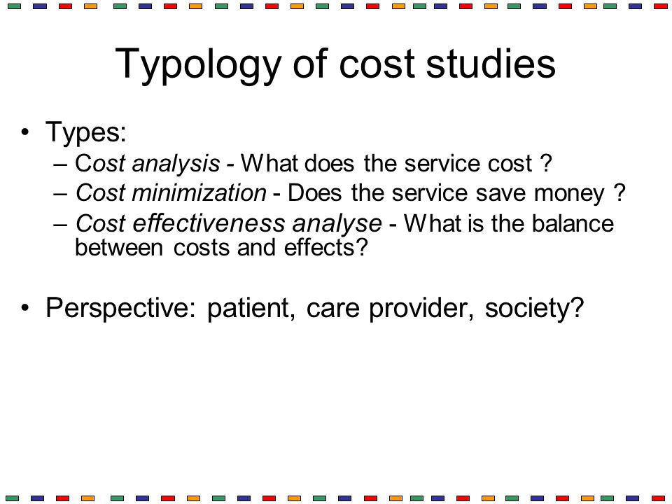 Typology of cost studies