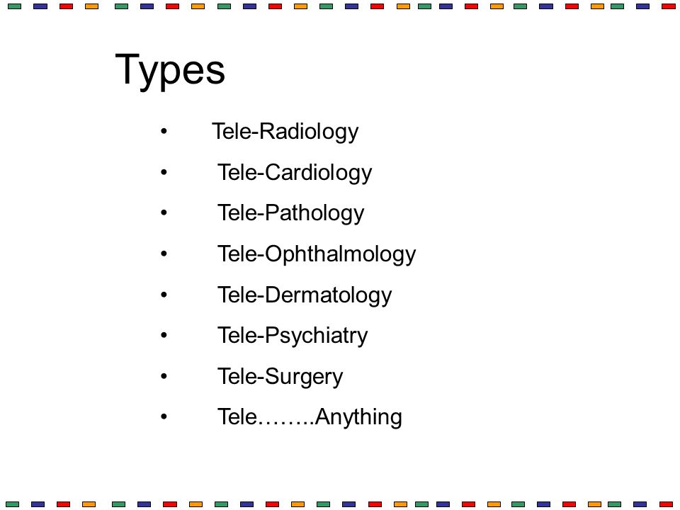Types Tele-Radiology Tele-Cardiology Tele-Pathology Tele-Ophthalmology