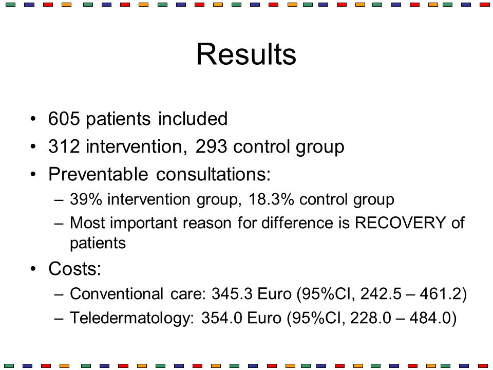 Results 605 patients included 312 intervention, 293 control group