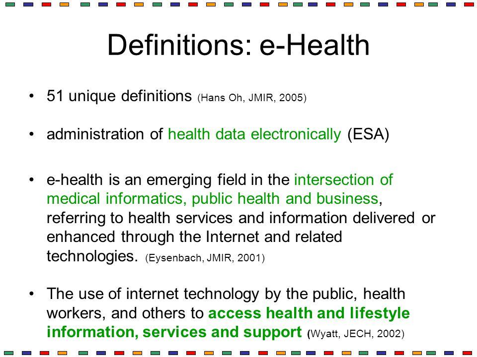 Definitions: e-Health