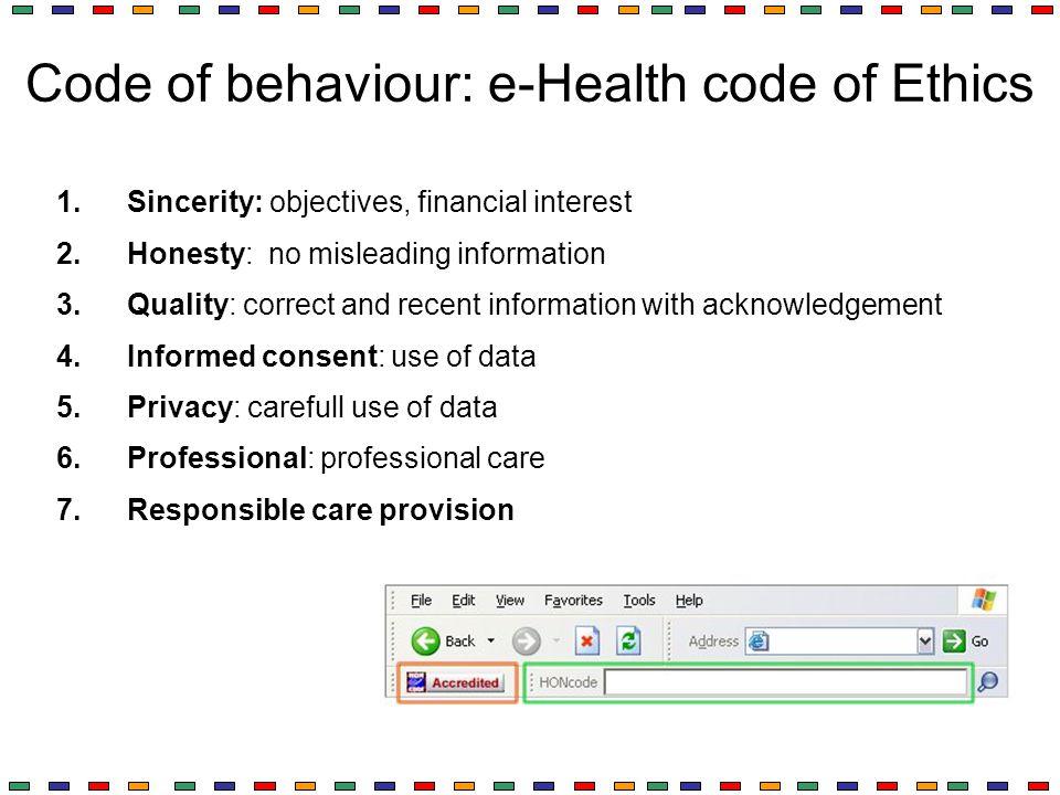 Code of behaviour: e-Health code of Ethics
