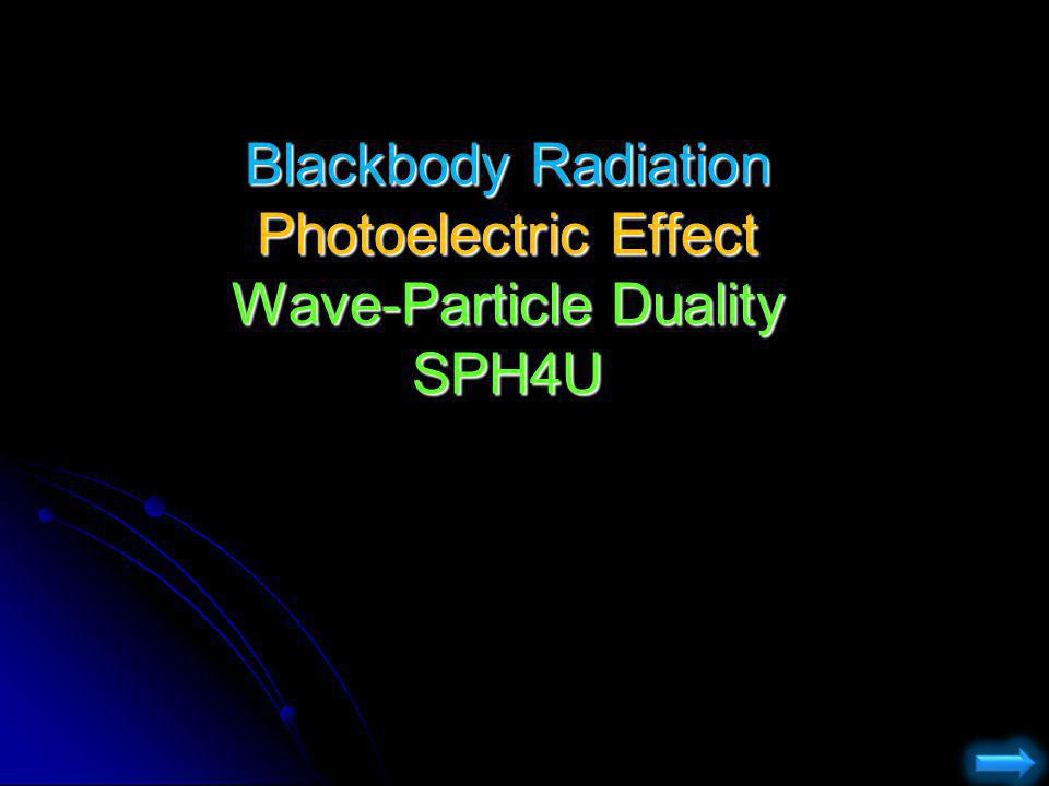 Blackbody Radiation Photoelectric Effect Wave-Particle Duality SPH4U