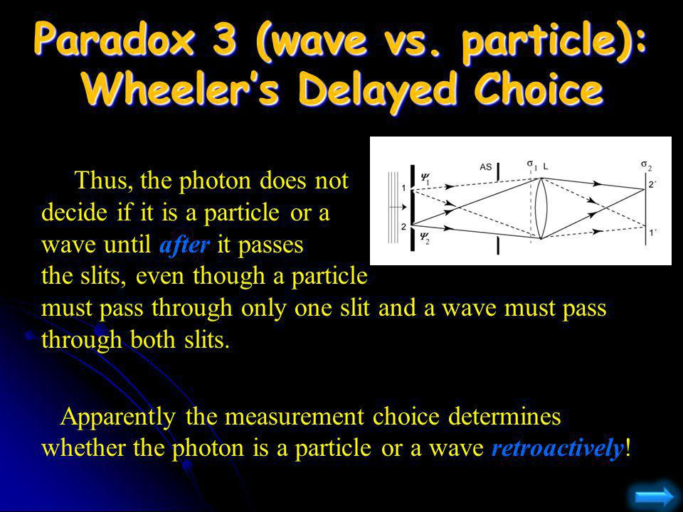 Paradox 3 (wave vs. particle): Wheeler's Delayed Choice