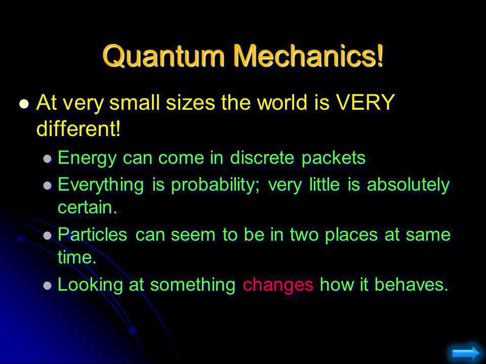 Quantum Mechanics! At very small sizes the world is VERY different!