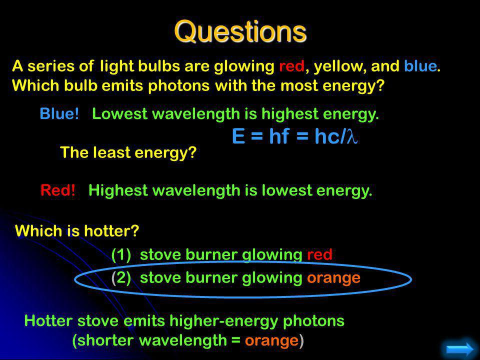 Questions A series of light bulbs are glowing red, yellow, and blue.