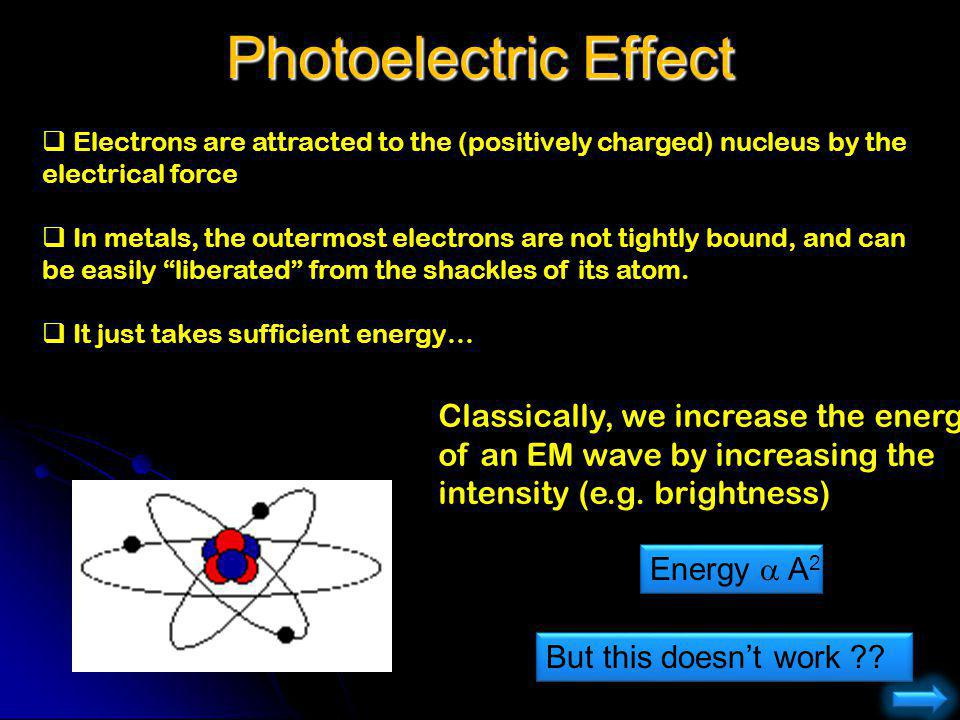 Photoelectric Effect Electrons are attracted to the (positively charged) nucleus by the electrical force.