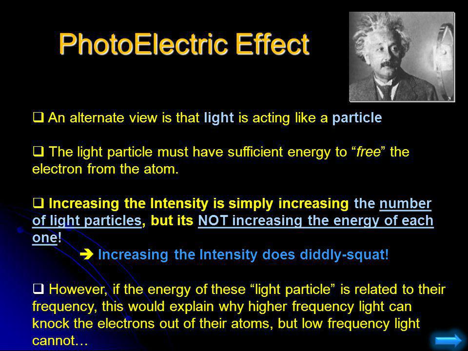 PhotoElectric Effect An alternate view is that light is acting like a particle.