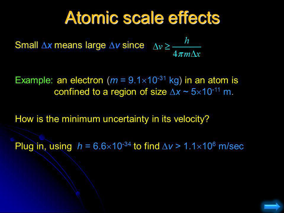 Atomic scale effects Small Dx means large Dv since