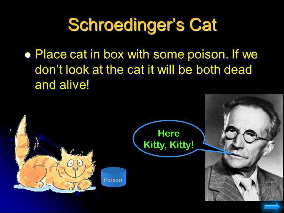 Schroedinger's Cat Place cat in box with some poison. If we don't look at the cat it will be both dead and alive!