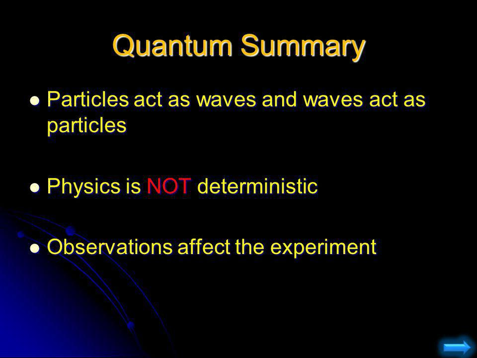 Quantum Summary Particles act as waves and waves act as particles