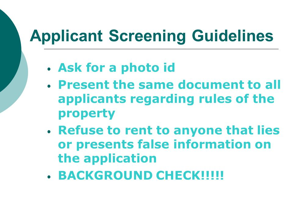 Applicant Screening Guidelines